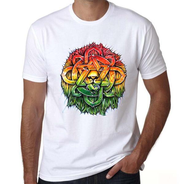 Soul t shirt Reggae lion emblem bodywave short sleeve tees Hiproll music tops Fadeless print clothing Pure color colorfast modal tshirt