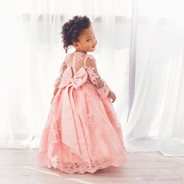 Lovely Pink Lace Ball Gown Baby Communion Dresses Sheer Long Sleeve Flower Girl Dresses For Wedding Princess Big Bow Girls Pageants Gowns