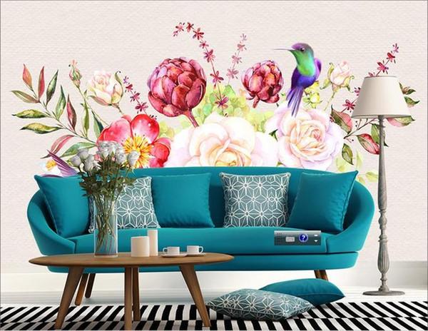 Özel 3D Fotoğraf Kağıdı Duvar Oturma Odası Yatak Odası Kanepe TV Zemin duvar Romantik Gül Mavi Kuş Resim Duvar Kağıdı Sticker Ev dekor