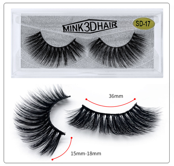 Wholesale SD series SD-17 3D real mink eyelash 100% Handmade Natural Silk False Eyelashes Faux Mink Eye Lashes free shipping