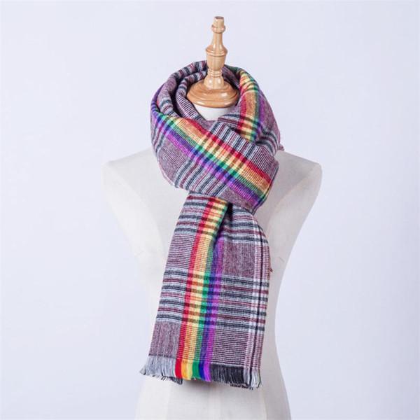 Large Winter Scarf For Women Warm Tartan Scarf Women Female Plaid Blanket Rainbow Basic Shawls Autumn Warp F30