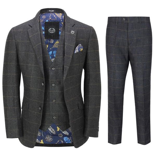 Mens 3 Piece Suit Herringbone Tweed Grey Black Check Retro Fitted Peaky Blinders Best Man Suits(Jacket+Pants+vest) Hot Sale
