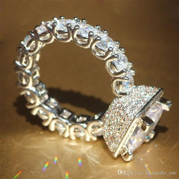 Real Solid 925 Silver Wedding Rings Jewelry for Women Square 3 Carat Simulated Diamond CZ Engagement Rings Accessories