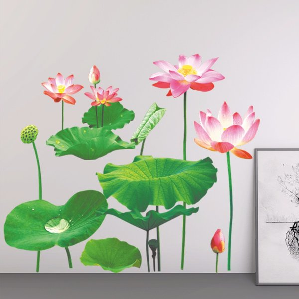 Newest 3D Simulation Lotus Flowers Wall Stickers Home Decor Bedroom TV Sofa Wall Decals Wallpaper Removable PVC Art Mural Poster