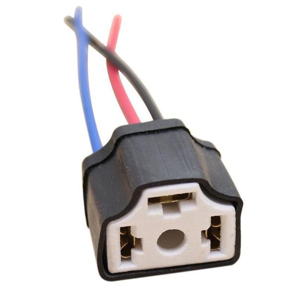 1pc h4 9003 ceramic wire wiring car head light bulb lamp harness socket  plug a+