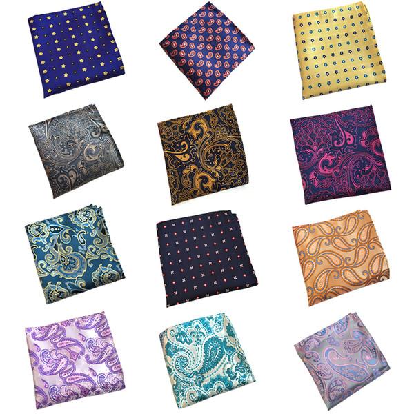 RBOCOTT Amarillo Floral Bolsillo Cuadrados Pañuelos de Paisley Azules Para Hombres Mujeres Moda Pañuelo 25 cm * 25 cm Para traje de boda de negocios