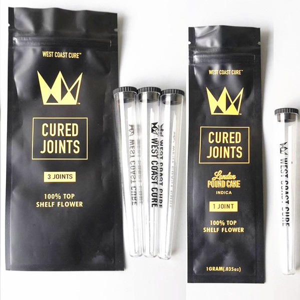top popular West Coast Cure 3PCS 1PCS CURED JOINTS BAG +PLASTIC TUBES Packaging 2020 moonrock Preroll Pre-rolled tube packaging 2021