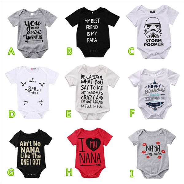 best selling 2019 Newborn Baby Boy Summer Cotton Rompers Jumpsuits Toddler Black White Letter Print Boys Girls Clothes 0-24M