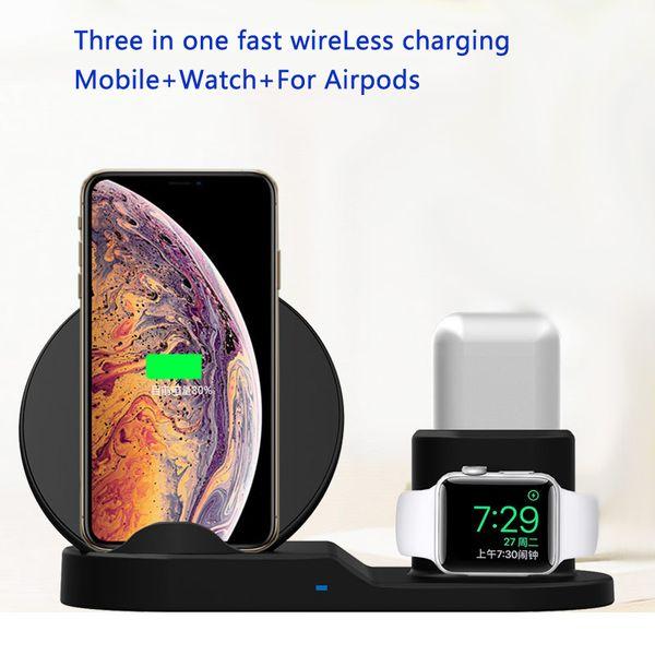 QI Soporte de cargador inalámbrico para iPhone 8 Plus X XS Estación de muelle de carga inalámbrica Max XR 3 en 1 para Apple AirPods Para Apple Watch 2 3 4 + caja