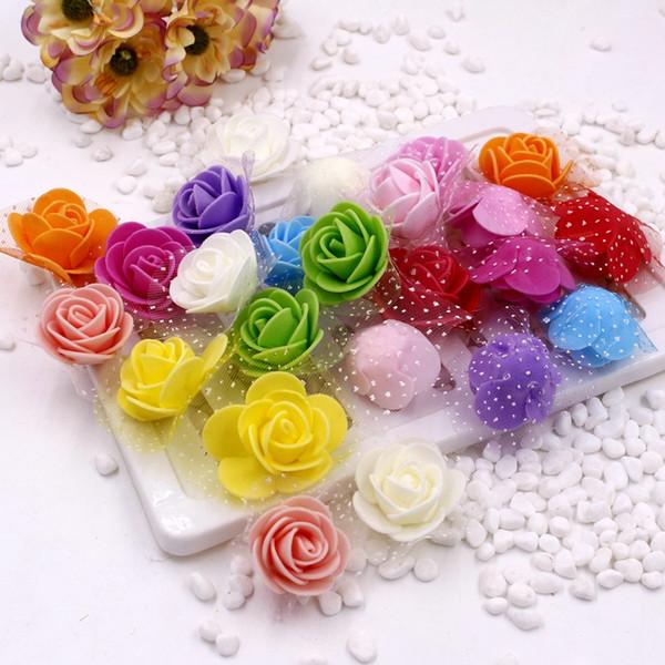 10pcs / lot 2.5cm PE Köpük Gül Yapay Çiçek Düğün Arabası Ev Dekorasyonu Flowersr Headmade Aksesuarları Beyaz Kırmızı Pembe için