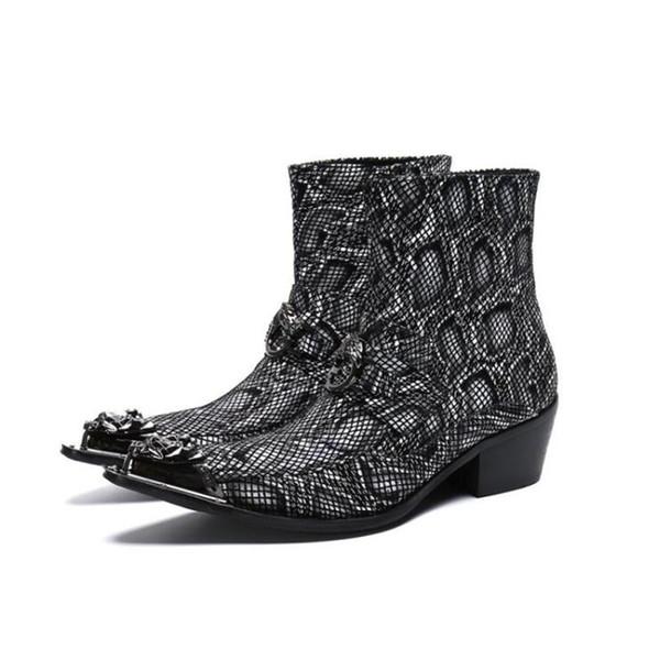 Mens Botas Brilhantes de Couro Genuíno Preto Com Zíper Moda Homem Jantar Partido Sapato Elegante Chefe Tornozelo Legal Mens Modern Vestido Botas