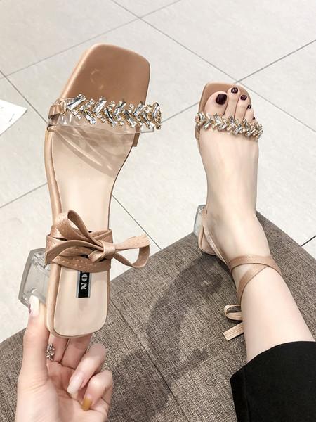 Sandals female summer Korean version of the wild thick heels women's belt with rhinestones high heel sandals women fast delivery