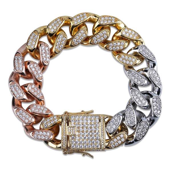 Cross-border Explosive Zircon Jewelry Button Cuban Chain Bracelet Men 14-18mm Three-color Rainbow Gold Bracelet High-end Jewelry