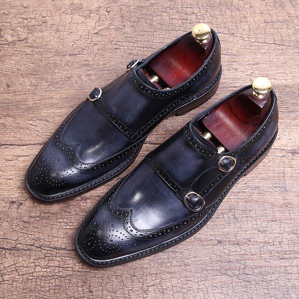 Main Chaussures Brogue Sculpté Business Chaussures Sangle Boucle Plat Automne Costume Formel Hommes Chaussures