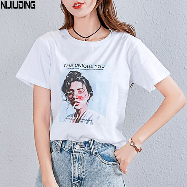Nijiuding White Female T-shirt 2018 T Shirts Summer Novelty Tee T Shirt Short Sleeve Print Women Cotton O-neck Tops Tees Q190425