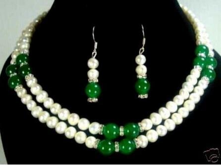 7-8mm white pearl and green / red jade necklace earring fashion wedding party jewelry