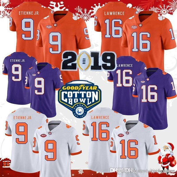 Clemson Tigers 16 Trevor Lawrence 9 Travis Etienne Jr. Football Jersey Championship Patch Watson Cotton Bowl White Purple Orange Renfrow Des