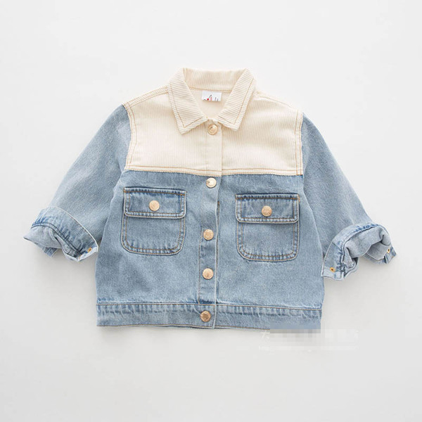 Ins new soft denim girls jackets girls fall clothes kids designer clothes girls coat spring autumn kids outwear big kids clothes A6890