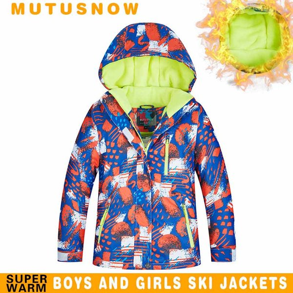 MUTUSNOW Boys Ski Jacket Kids Winter Brands 2019 New High Quality Waterproof Breathable Thicken Warmth -30 Degrees Snowboard Snow Jacket