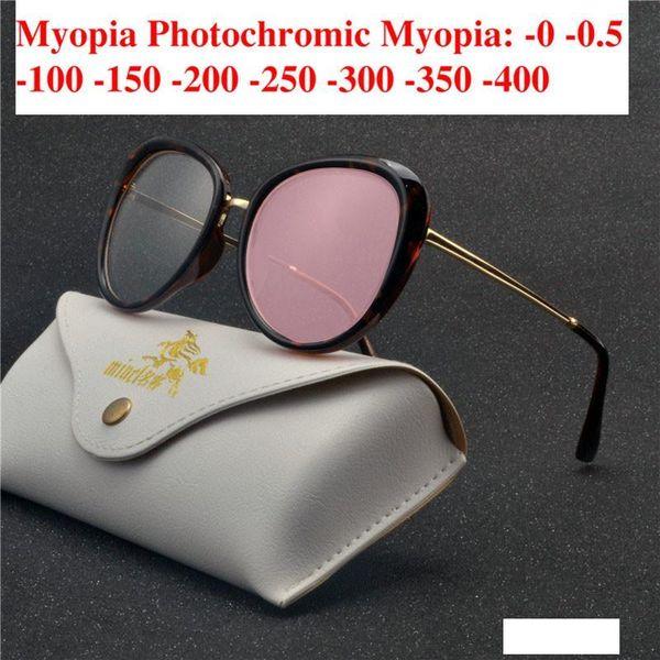 Transição Sunglasses Photochromic miopia óculos Glasses miopia acabados para quadro do gato Mulheres Computer Optical Glasses