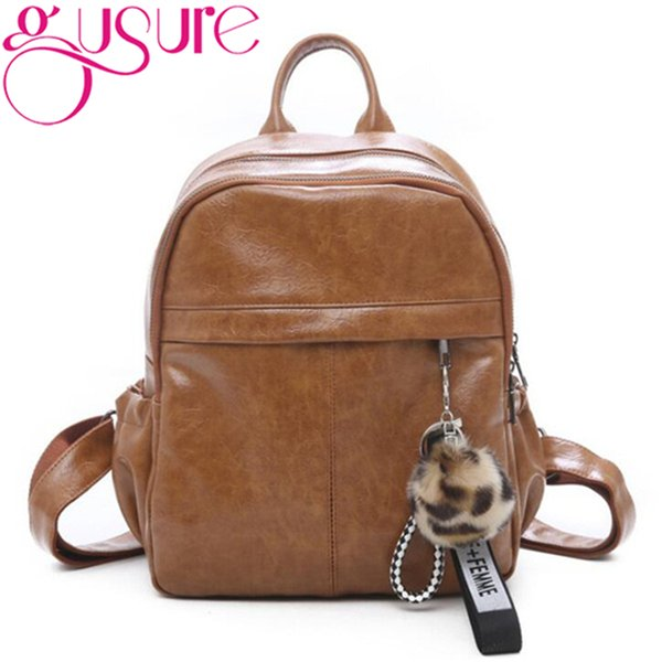 Gusure Simple Soft PU Leather Backpack Fur Ball Daypacks For Teen Girls Women Rucksack Shoulder Bags Travel Computer Backpacks