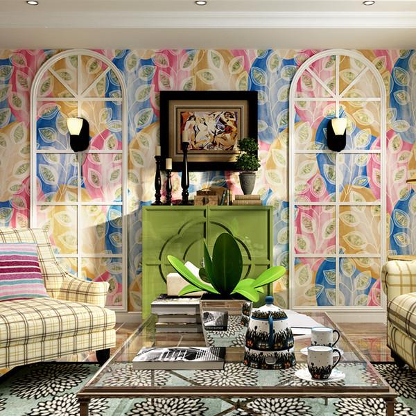 Papel tapiz de estilo mediterráneo elegante jardín americano sala de estar plumas de pavo real azul Asia sudoriental TV fondo de pantalla