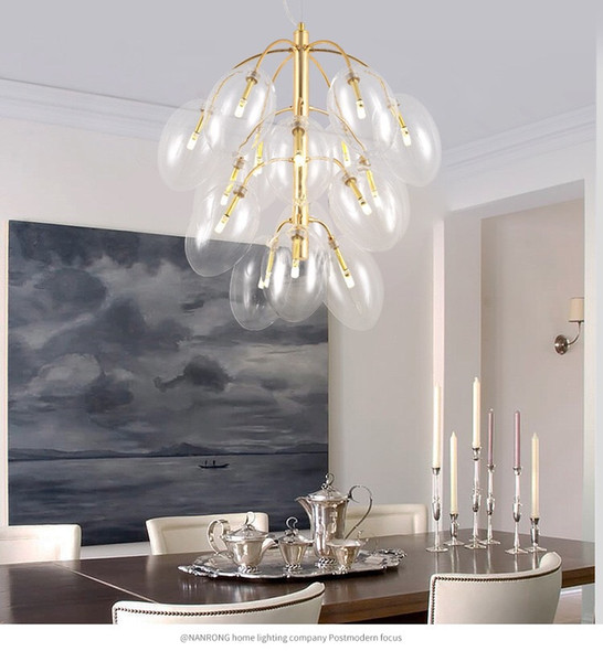 Simple post-modern restaurant grape string chandelier Nordic creative personality bar glass bubble ball living room lamps and lanterns