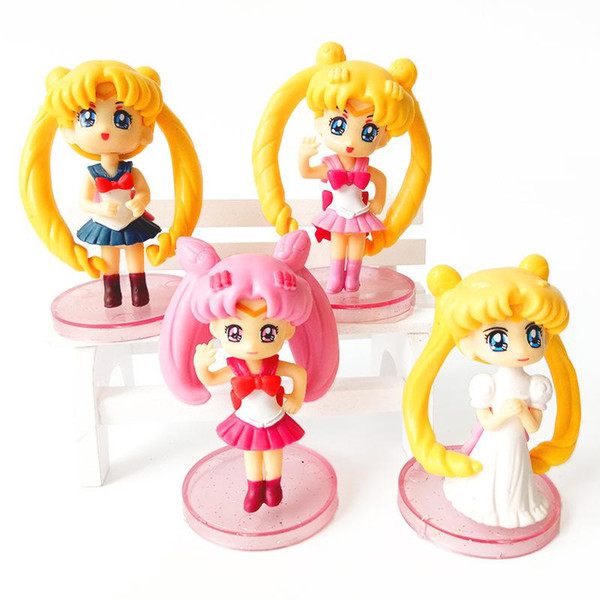 Cake baking Sailor Moon model doll Action Figure Toy 4pcs Mini model DOLL GIFT FOR KIDS birthday gift Cake decoration family Ornament