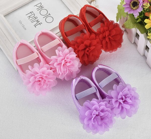DHL 100pair Toddler Girl Chiffon Flower Elastic Band Newborn Walking Shoes Baby Shoes Toddler First Walkers