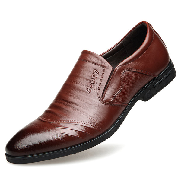 Mens formal shoes genuine leather Business Shoes Slip-On Men Dress Casual Rubber Breathable Wedding Shoes zapatos de hombre Rubber Breathable Wedding Shoes