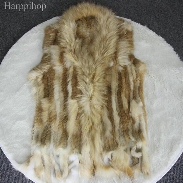 New Real ladies Genuine Knitted Rabbit Fur Vest With Raccoon Fur Trimming Waistcoat Winter Jacket harppihop