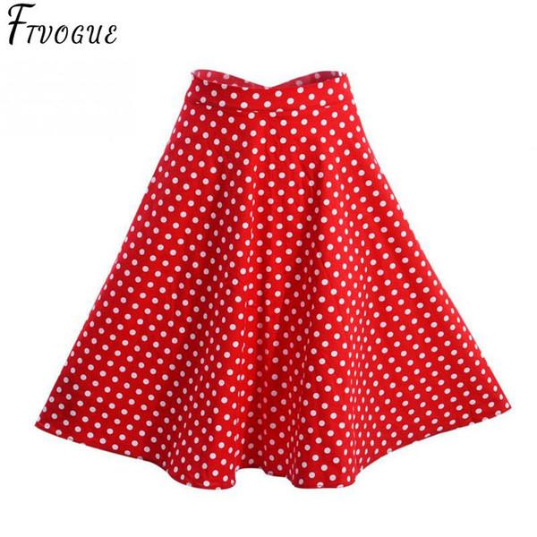 2018 Women Polka Dot Skirts High Waist Sexy Pinup 50s 60s Vintage Rockabilly Skirt Skater Midi Skirt Faldas Mujer Plus Size J190625