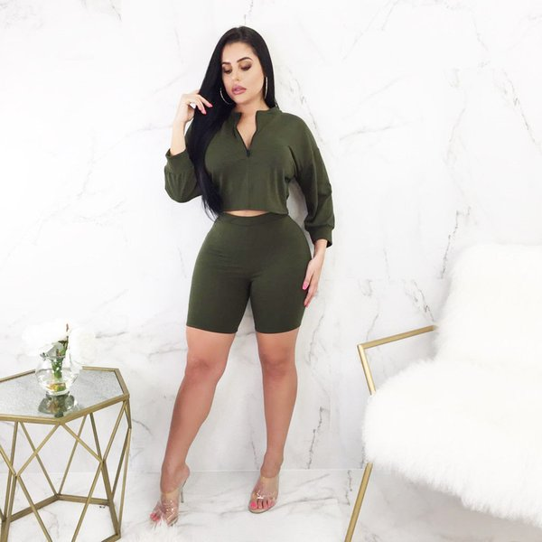 V-neck 2 Piece Clothing Set Women Long sleeve Crop Top And short Pants Suit ladies Sexy Leisure Two Piece Bodycon Tracksuit