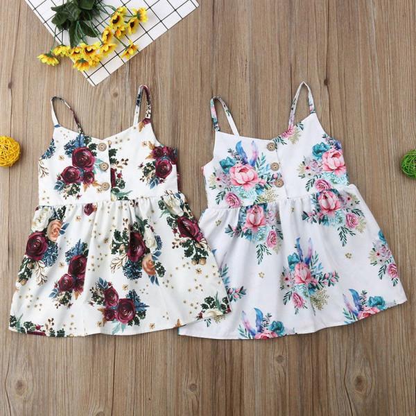 Mignon bébé filles fleur princesse sans manches robe robe d'été pour nouveau-né bébé fille enfants vêtements vêtements pour enfants d'été