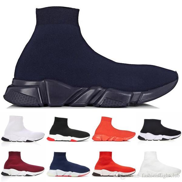 2019 Nueva Arrivlas París Speed Trainer fuera Rojo Triple Negro plano original de cuero de lujo para mujer para hombre zapatillas de deporte de los calzados informales Negro Blanco