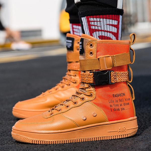 Schnalle Design Männliche Stiefeletten Schwarz Weiß Rot Orange Flache Ferse Hohe Freizeitschuhe Junge Mens Fashion Boots