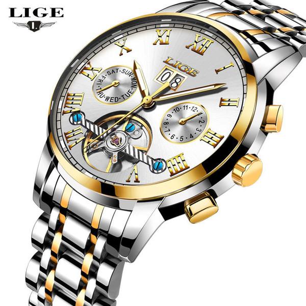 Lige Nuevos Hombres Relojes de Primeras Marcas Hombres de Lujo Reloj Mecánico Hombre Multifunción de Acero Completo Moda Reloj Deportivo Relogio masculino J190706