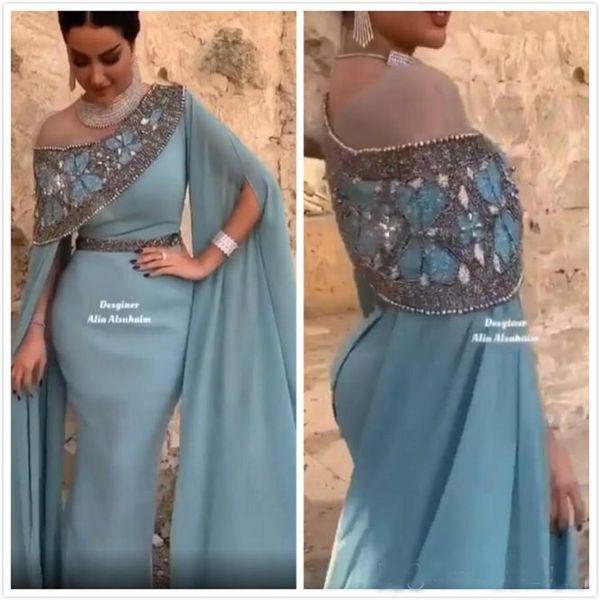 2020 Arabe sirène robes de soirée cristaux de perles Robes de bal en mousseline de soie Parti formelles deuxièmes Robes de réception