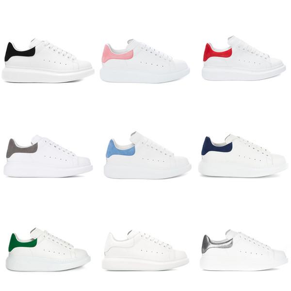 Дизайнерские Мужские Женские Роскошные Белые Кожаные Туфли на Платформе Плоские