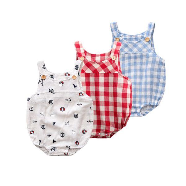 New Design Newborn Baby Ruffle Romper Summer Style Clothing Photo Props Lattice Thin Cotton Vest Girl Clothes Q190518