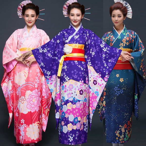 top popular Best Seller Japanese Kimono Women Yukata Traditional Kimonos Female Bathrobe Japanese Ancient Clothes Fashion Clothing Costume 2021