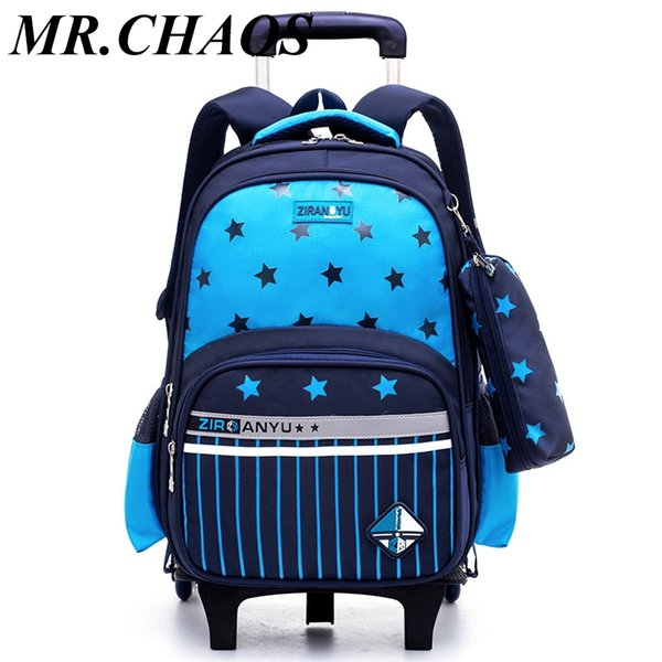 waterproof Trolley backpack boys Girls children School Bag Wheels Travel bag Luggage backpack kids Rolling detachable schoolbags
