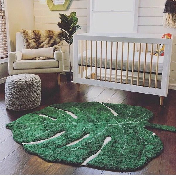 Forma de alfombras nórdica de la hoja del algodón del bebé del algodón para los niños Playmat la decoración del hogar Salón Área Rug puerta Mat para niños Mantas de juguete