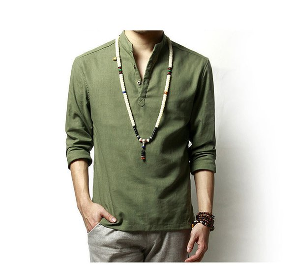 Summer Mens Linen Cotton Green Khaki Blended Shirt Mandarin Collar Breathable Comfy Traditional Chinese Style Popover Henley Shirts For Men