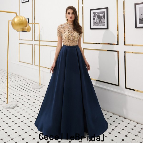 28843eee7 A-line Dark Navy Satin Long Evening Dresses 2019 With Short Sleeves Heavily  Beading Top