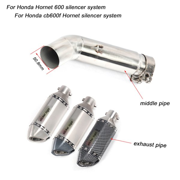 50.8MM Motorcycle Middle Pipe And Exhaust Muffler Pipe Silp on for Honda 600 Hornet Non-destructive installation Silencer Syste