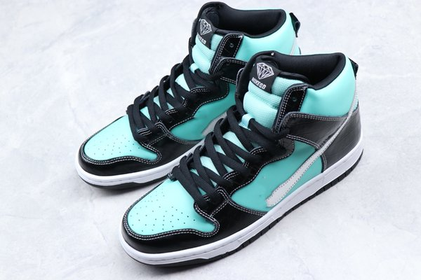 Diamond SB Dunk High Tiffanies Sports Sneakers Man Woman Fish scale pattern Athletic Shoes , Genuine leather