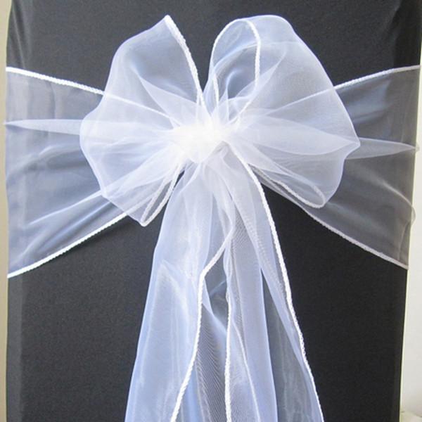 Sashes OurWarm 50pcs Wedding Sashes Organza Bow 18x275cm Organza Sash Wedding Chair Decoration Chair Ties