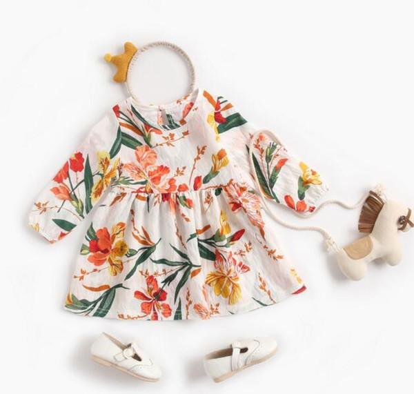Fille enfants vêtements de marque Robe Printemps Automne Pleine Fleur Imprimer Manches Longues Conception Robe Douce Elégante Fille Vêtements Robe