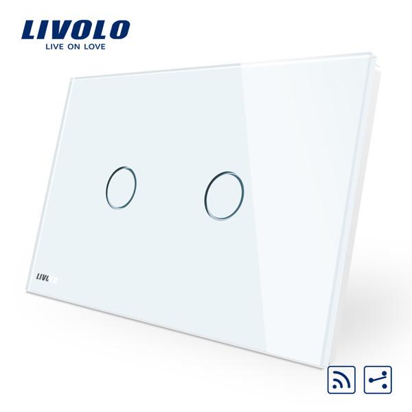 Livolo AU / Standard USA, interruttore a distanza, pannello in cristallo bianco, interruttore a parete a distanza a 2 vie senza fili